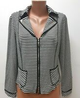 JOSEPH RIBKOFF size UK 14 Black White Striped Jacket Cardigan LOGO - Zip