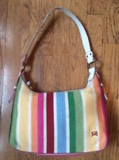 The SAK Handbag Purse Woven Striped Material Fabric Zip Crossbody Shoulder Bag