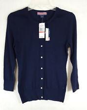 NWT $125 Vineyard Vines XS Cherry Tree Navy Cardigan Top Sweater silk blend b4