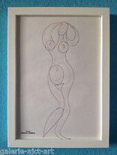 Raymond TRAMEAU Dessin de 1960 Encadré Braque Modigliani Érotique Nue Organique
