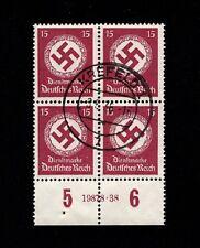 Germany 1936 Swastika Dienstmarke Plate Block Han # 19828 38 Krefeld Cancel 3p