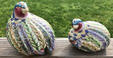 Pair of Vintage Pastel Green, Blue, Gold Quail Partridge Bird Ceramic Figurines