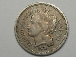 1868 US Three Cent Nickel (Some Doubling). 3¢. #6