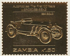 Zambia 5222 - 1987 Classic Cars - MERCEDES-BENZ in 22k gold foi unmounted mint