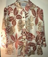Alfred Dunner Leaf Pattered 3/4 Sleeve Button Down Blouse Women's Size 6P