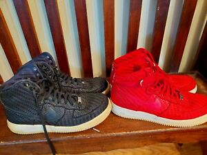 MEN'S SIZE 11.5 NIKE AIR FORCE 1 BASKETBALL SHOES WOVEN RED & BLACK (2 PAIRS!)