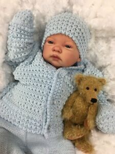 REBORN BABY BOY DOLL BLUE SPANISH KNITTED SET WITH DUMMY  C