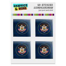 Rustic Utah State Flag Distressed USA Computer Case Modding Badge Stickers Set