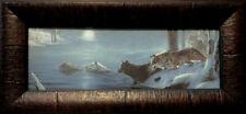 Molnar, The Crossing  Wolves art PrintTextured-Framed 17.5 x 8