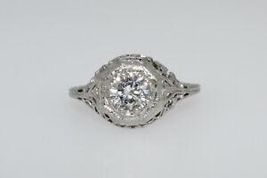 Antique Art Deco 18K White Gold Filigree 0.75CT Diamond Ring