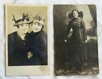 Vintage Antique post card lot of 2 women in hats uniform dress outfit photograph