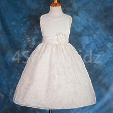 Satin Dress up Wedding Flower Girl Bridesmaid Party Occasion Ivory Size 1-2 150