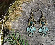 Boucles d'oreilles dragon vert fantaisie elfique spirale Celtique magique païen