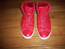 CLAE High-top SNEAKERS Red  Leather TRAINERS Size 12