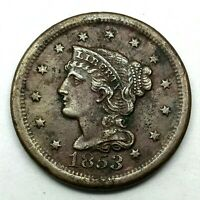 1853 Penny Braided Hair Large Cent - Original- Nice Coin. #2