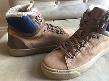 ZARA MAN SUEDE BROWN & BLUE FAUX FUR LINNING HIGH TOP BOOTS SNEAKERS SHOES 6 39