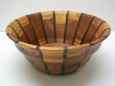 """Art Wooden Bowl, Hand Crafted by B. Casteel, Artist Signed 1998, Large 10"""""""