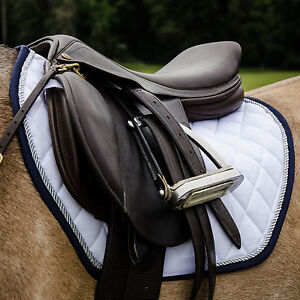 White or navy saddlepad silver cord - 3 pony sizes CLEARANCE PRICE!
