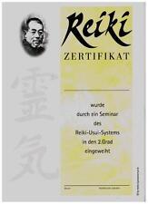 10 Reiki Zertifikate / Urkunden für den 2. Grad und kostenloser Lehrereintrag