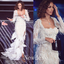 White Ivory Feathers Wedding Dress Split Sheath Long Sleeve Bridal Gown Cocktail