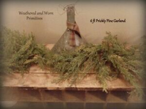 Primitive Variegated Faux Prickly Pine Christmas Garland - 6ft Long