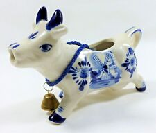 "VINTAGE AUTHENTIC DELFT DECO ""Blauw"" BLUE HAND PAINTED COW CREAMER JUG & BELL"