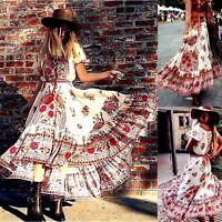 Women Summer Vintage Boho Long Maxi Dress Evening Cocktail Party Beach Sundress