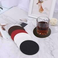 Round Marble Coasters PU Leather Cup Mats Placemat Coasters For Home Drink G1L9