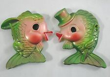 VTG Chalkware Green Kissing Fish Wall Plaques Wife Husband 1969 MILLER Studio