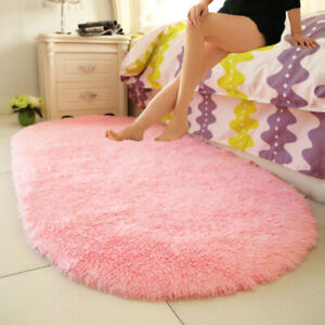 1PC Shaggy Fluffy Soft Area Rugs Oval Plush Carpet Floor Mat Bedside Home Solid