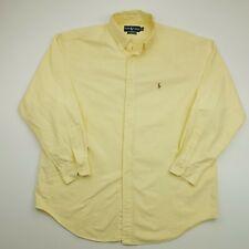 Ralph Lauren Vintage Shirt THICK Oxford 17.5 34/35 2XL Yellow Classic OVERSIZED