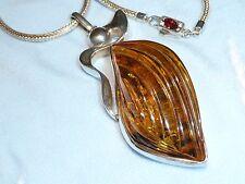 """Vintage Sterling Pendant, 57 X 25mm Carved Amber, 22.5"""" Java chain, Konder #297"""