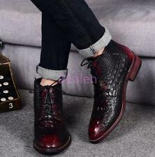 Mens Alligator Printed British Lace Up High Tops Ankle Boots Wedding Dress Shoes