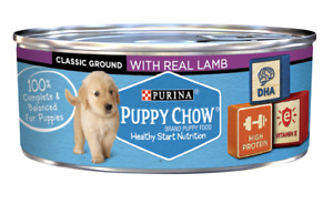 Puppy Chow Purina (8) Cans Healthy Start Nutrition With Real Lamb (8) 5.5oz Cans