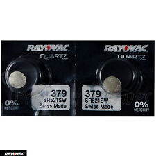 2 x Rayovac 379 batteries Silver Oxide 1.55V SR63 SR521SW V379 Watches Swiss