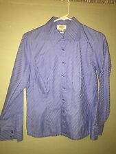 Talbots Women's Collared Button Down Long Sleeve Top Size 8 Casual Blue Blouse