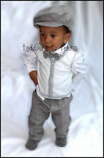 Baby Boy Grey Christening Baptism Pageboy Formal Party Smart Suit 5 Pcs Outfit 3 - 6 Months Outfit With Vest