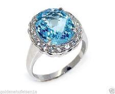 Ovale Echte Edelstein-Ringe mit Blautopas für Damen