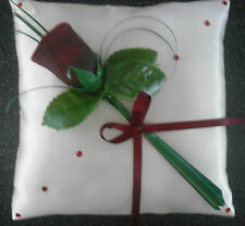 HANDMADE SATIN WEDDING RING CUSHION IN IVORY WITH BURGUNDY ROSE