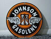 VINTAGE JOHNSON GASOLINE PORCELAIN SIGN GAS MOTOR OIL CAN STATION PUMP PLATE AD