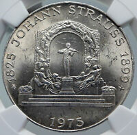 1975 AUSTRIA Composer Johann Strauss VINTAGE Silver 100 Shilling Coin NGC i86023