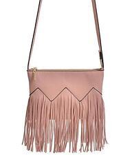 Fringe Handbag Print Women Shoulder Purse or Hand Held Pink