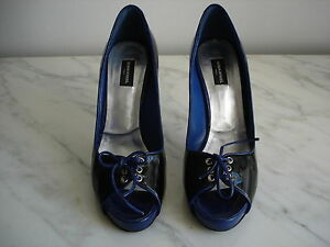 sonia rykiel blue and black patent high heeled pumps with peep toe