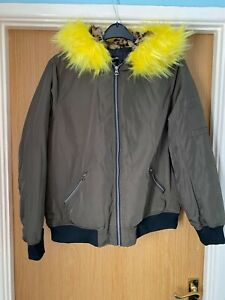 Khaki Bomber Jacket Leopard Print Hood Lining Faux Fur Coloured Plus Size 18