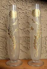 St Louis PAIR ANTIQUE GLASS VASE ENAMELED GOLD VICTORIN MANTLE BOHEMIAN ERA