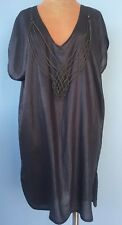 Guess By Marciano Women's Dress Tunic Sz S Gray Silver Chain V neck Sleeveless
