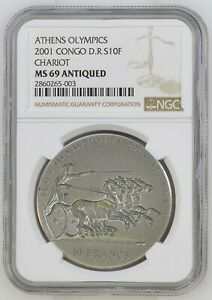 2001 Congo 10 Francs Silver Antiqued Athens Olympics Chariot Lion NGC MS69