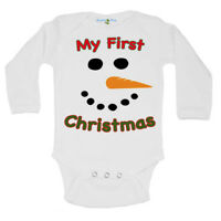 Long Sleeve Cute My First Christmas Holiday Snowman One Piece Suit Baby Romper
