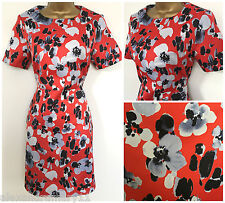 NEW Ex Definitions Red Grey & Black Floral Satin A-line Shift Dress 8 - 20