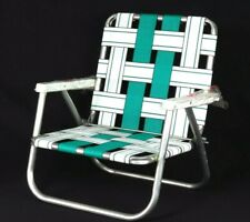 Vintage Folding Beach Chair Aluminum Webbed Low Green White Camping Fishing Lawn